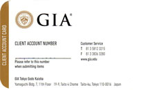 GIA Tokyo CLIENT ACCOUNT CARD